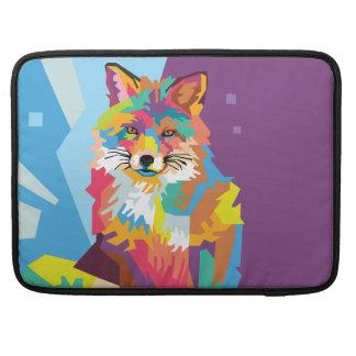 Bolsa MacBook Pro Retrato colorido do Fox do pop art