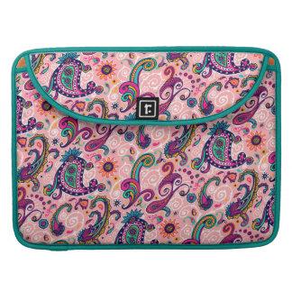 Bolsa MacBook Pro Teste padrão cor-de-rosa bonito de Paisley