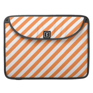 Bolsa MacBook Pro Teste padrão diagonal alaranjado e branco das