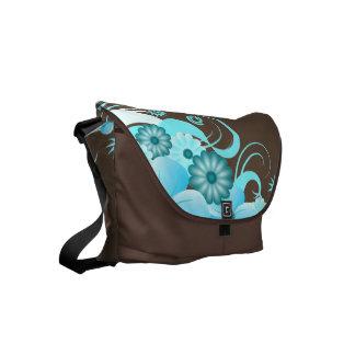 Bolsa Mensageiro As bolsas florais do correio do hibiscus azul do