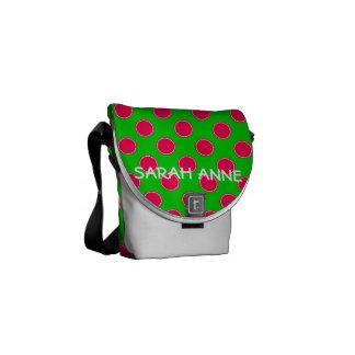 Bolsa Mensageiro Bolinhas cor-de-rosa e verdes formais