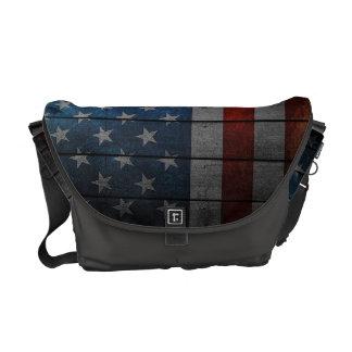 Bolsa Mensageiro Cerca pintada da bandeira americana
