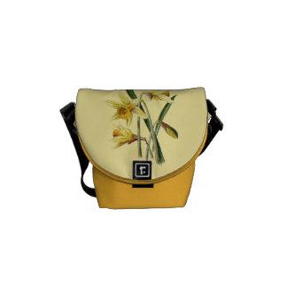 Bolsa Mensageiro Daffodils do vintage gráficos