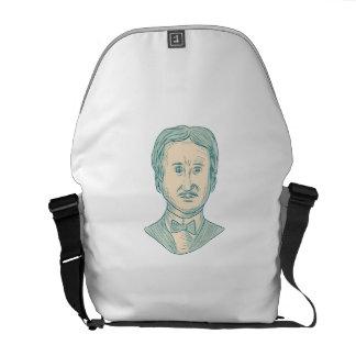 Bolsa Mensageiro Desenho do escritor de Edgar Allan Poe