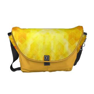Bolsa Mensageiro Design geométrico do cubo do Sunburst amarelo