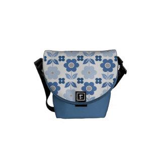Bolsa Mensageiro Flores azuis retros