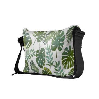 Bolsa Mensageiro Folhas tropicais do verde da aguarela