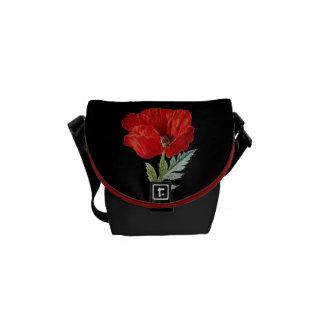 Bolsa Mensageiro Gráfico vermelho da flor da papoila do vintage