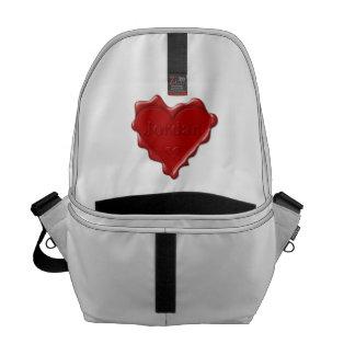Bolsa Mensageiro Jordão. Selo vermelho da cera do coração com