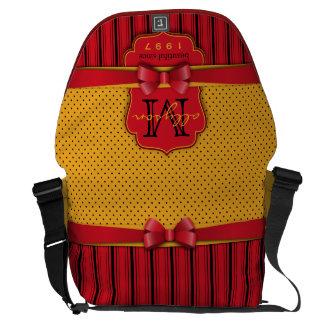 Bolsa Mensageiro Listras amarelas retros do vermelho das bolinhas