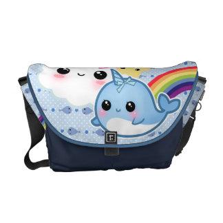 Bolsa Mensageiro O bebê bonito narwhal com arco-íris e kawaii nubla