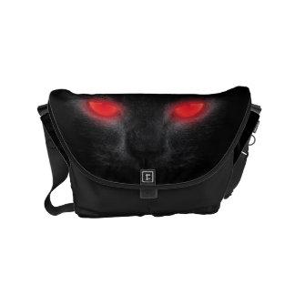 Bolsa Mensageiro O vermelho de incandescência do gato preto do Dia