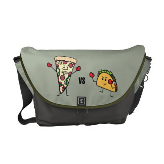 Bolsa Mensageiro Pizza de Pepperoni CONTRA o Taco: Mexicano contra