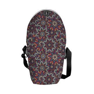 Bolsa Mensageiro Teste padrão floral étnico abstrato colorido da