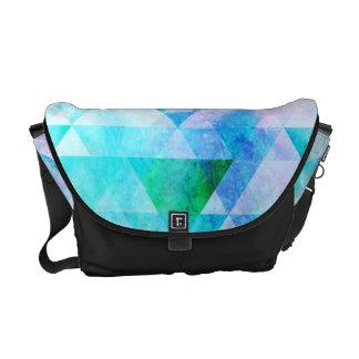 Bolsa Mensageiro Teste padrão geométrico da aguarela azul