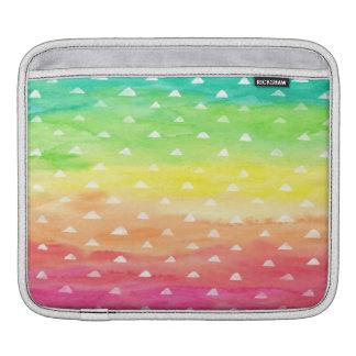 Bolsa Para iPad A aguarela colorida listra os triângulos brancos
