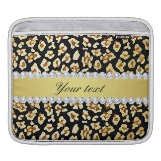 Bolsa Para iPad Brilho do ouro do falso do leopardo e preto da
