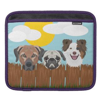 Bolsa Para iPad Cães afortunados da ilustração em uma cerca de
