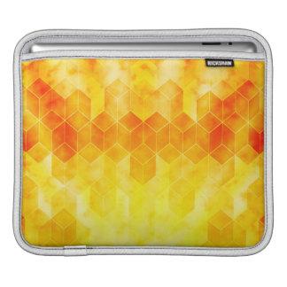 Bolsa Para iPad Design geométrico do cubo do Sunburst amarelo