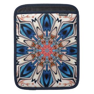 Bolsa Para iPad Flor azul e alaranjada abstrata