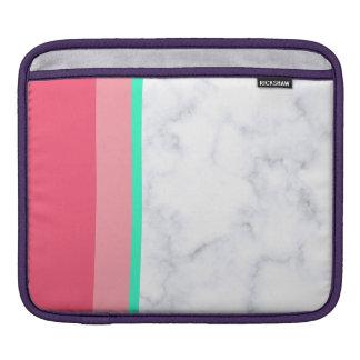 Bolsa Para iPad hortelã de mármore branca elegante do melão do