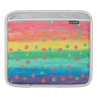 Bolsa Para iPad Listras e pontos coloridos da aguarela