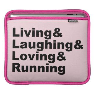 Bolsa Para iPad Living&Laughing&Loving&RUNNING (preto)