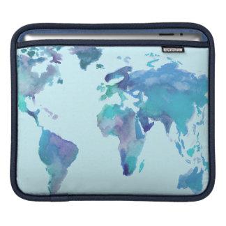 Bolsa Para iPad Mapa do mundo do azul da aguarela
