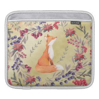 Bolsa Para iPad Ouro das bagas do inverno do Fox da aguarela