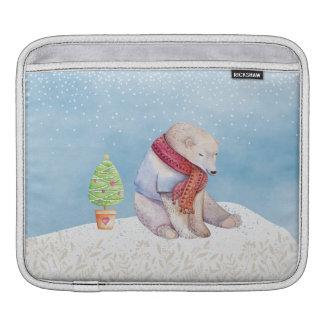 Bolsa Para iPad Urso polar e árvore de Natal na neve