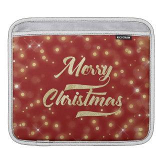 Bolsa Para iPad Vermelho do ouro de Bokeh do brilho do Feliz Natal