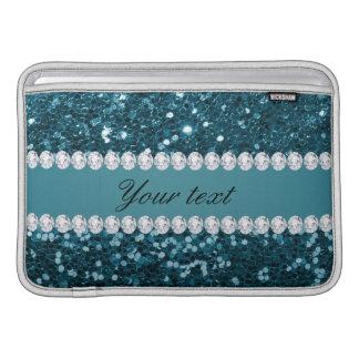 Bolsa Para MacBook Air Brilho azul e diamantes do falso da cerceta escura