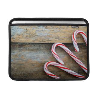 Bolsa Para MacBook Air Madeira rústica com os bastões de doces do Natal
