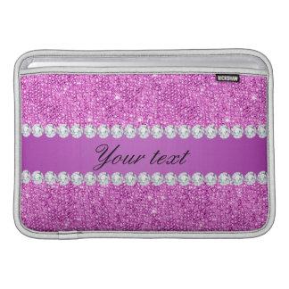 Bolsa Para MacBook Air Sequins roxos chiques e diamantes do falso