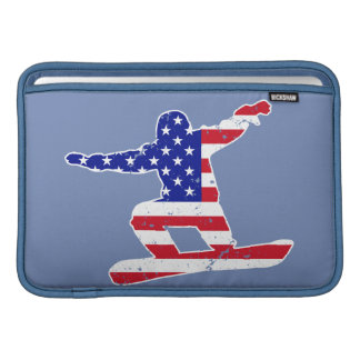 Bolsa Para MacBook Air Stars o SNOWBOARDER das listras do ` n' (branco)