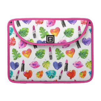 Bolsa Para MacBook Batons do beijo do pino das folhas de palmeira da