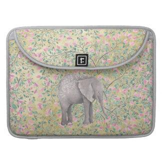 Bolsa Para MacBook Brilho do ouro das flores do elefante da aguarela