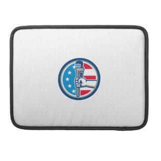 Bolsa Para MacBook Círculo ereto R da bandeira dos EUA da chave de