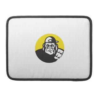 Bolsa Para MacBook Círculo irritado do boné de beisebol da cabeça do