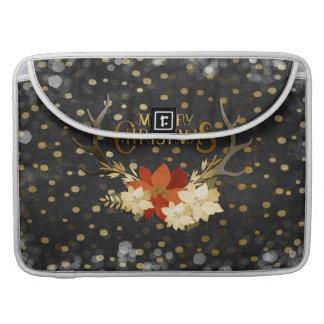 Bolsa Para MacBook Confetes florais dos Antlers do Feliz Natal