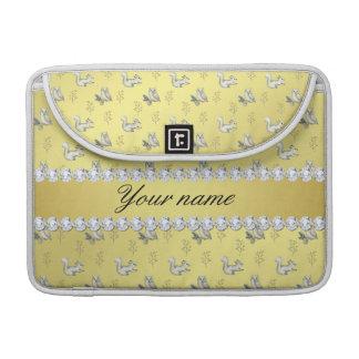Bolsa Para MacBook Diamantes de Bling da folha de ouro do falso das