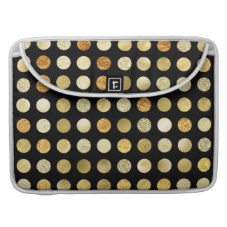 Bolsa Para MacBook Folha de ouro e preto das bolinhas do brilho