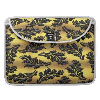 Bolsa Para MacBook Folhas chiques do brilho do preto da folha de ouro