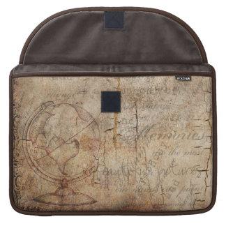 Bolsa Para MacBook Luva rústica de Brown MacBook do globo antigo do