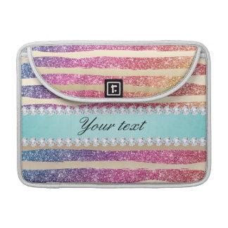 Bolsa Para MacBook O brilho do arco-íris do falso listra o ouro dos