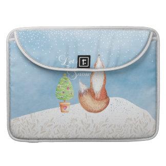 Bolsa Para MacBook O Fox festivo bonito deixou-o nevar