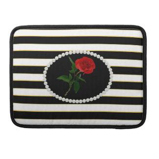 Bolsa Para MacBook O preto elegante listra a luva de Macbook da rosa
