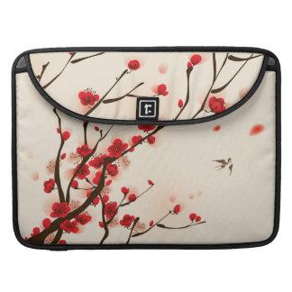 Bolsa Para MacBook Pintura asiática do estilo, flor da ameixa no