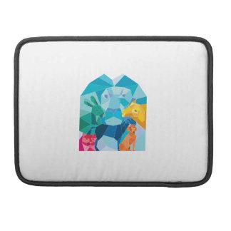Bolsa Para MacBook Polígono da cabra do cão do cavalo do gato do