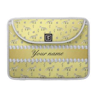 Bolsa Para MacBook Pro Diamantes elegantes de Bling da folha de ouro do